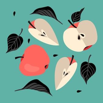 Wzór z jabłkami w kolorze czarnym i czerwonym na zielonym tle nowoczesny styl kartkę z życzeniami w tle