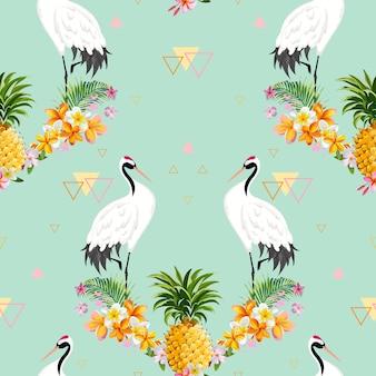 Wzór z japońskimi żurawiami, ananasem i tropikalnymi kwiatami, retro ptak tło, kwiatowy nadruk mody, japoński zestaw dekoracji urodzinowych. ilustracja wektorowa