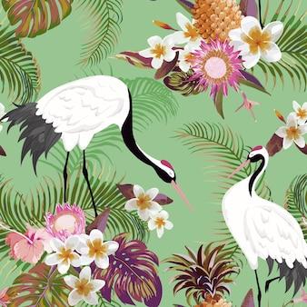Wzór z japońskimi żurawiami i tropikalnymi kwiatami, retro kwiatowy tło, druk mody, japoński zestaw dekoracji urodzinowych. ilustracja wektorowa