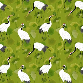 Wzór Z Japońskimi żurawiami, Retro Lotos Kwiatowy Tło, Druk Mody, Zestaw Dekoracji Urodzinowych Ptaków. Ilustracja Wektorowa Premium Wektorów