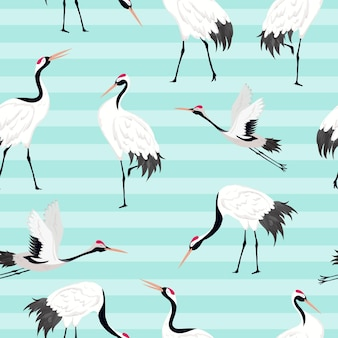Wzór z japońskimi żurawiami, retro ptak tło, druk mody, japoński zestaw dekoracji urodzinowych. ilustracja wektorowa