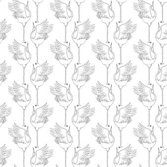 Wzór Z Japońskimi żurawiami W Nowoczesnym, Płaskim Geometrycznym Stylu Premium Wektorów