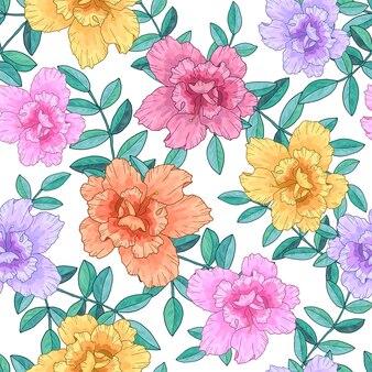 Wzór z jasnych kwiatów i gałęzi z zielonymi liśćmi. ręcznie rysowane tapety
