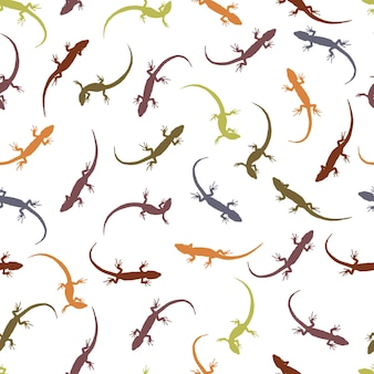 Wzór z jaszczurkami. kolorowe sylwetki gadów na jasnym tle. kontury różnych jaszczurek. ilustracja wektorowa.