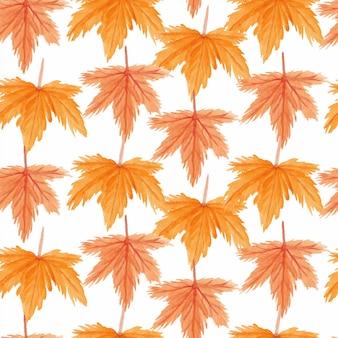 Wzór z jesień liść klonu akwarela
