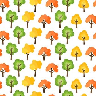 Wzór z jesiennych drzew. tło jesień las. ilustracja wektorowa