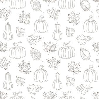 Wzór z jesiennych liści i dyni. czarny biały wektor z elementami doodle konspektu