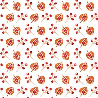 Wzór z jesiennych liści i jagód w kolorach pomarańczowym i brązowym