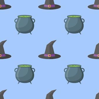 Wzór z kapelusz czarownicy i kocioł.