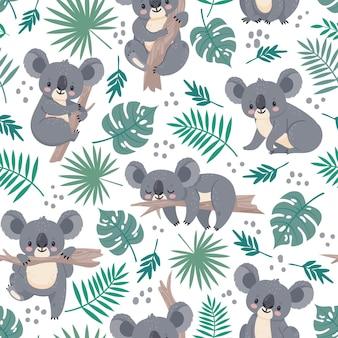 Wzór z koalami. śliczne niedźwiedzie australijskie i tropikalne liście. kreskówka dziecko koala projekt. natura tło wektor dla dzieci. ilustracja koala australia tapeta, liść i opakowanie zwierząt