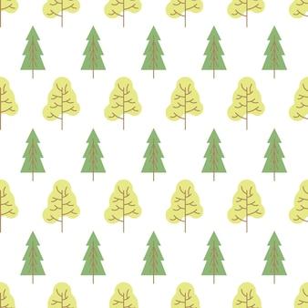 Wzór z kolorowych drzew na białym tle. ilustracja wektorowa.