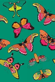 Wzór z kolorowych motyli. grafika wektorowa.