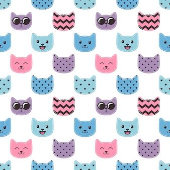 Wzór z kolorowych twarzy kotów