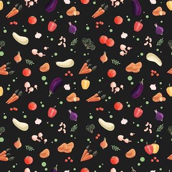 Wzór z kolorowych warzyw na ciemnozielonym tle