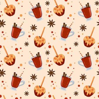 Wzór z kolorowym grzanym winem i jabłkami w karmelu. wygląd menu, papier do pakowania sklepu.