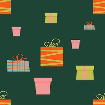 Wzór z kolorowym płaskim pudełkiem prezentowym tło wakacje z pudełkami prezentowymi