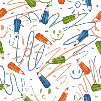 Wzór z kolorowymi kredkami i rysunkami ręcznymi dzieci.