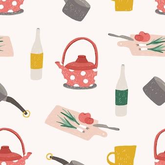 Wzór z kolorowymi naczyniami kuchennymi, naczyniami, narzędziami do przetwarzania żywności, przygotowywania posiłków lub gotowania w domu na białym tle. ilustracja do tapety, nadruk tekstylny, tło.