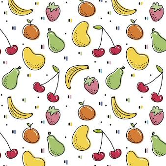 Wzór z kolorowymi owocami