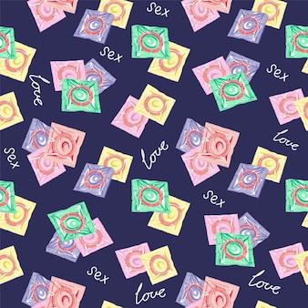 Wzór z kolorowymi prezerwatywami