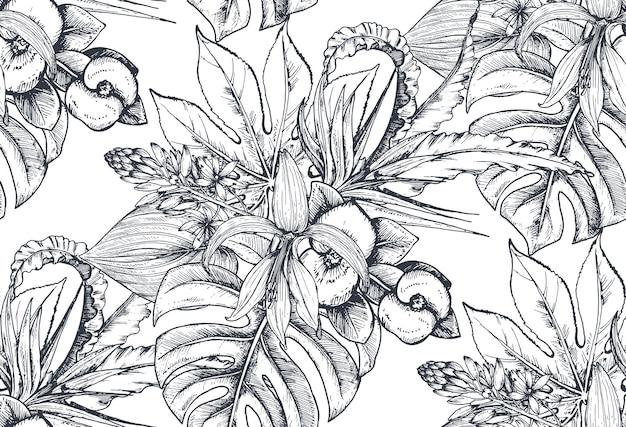 Wzór z kompozycjami ręcznie rysowane tropikalne kwiaty, liście palm, rośliny dżungli, rajski bukiet. czarno-biały naszkicowany kwiatowy wzór