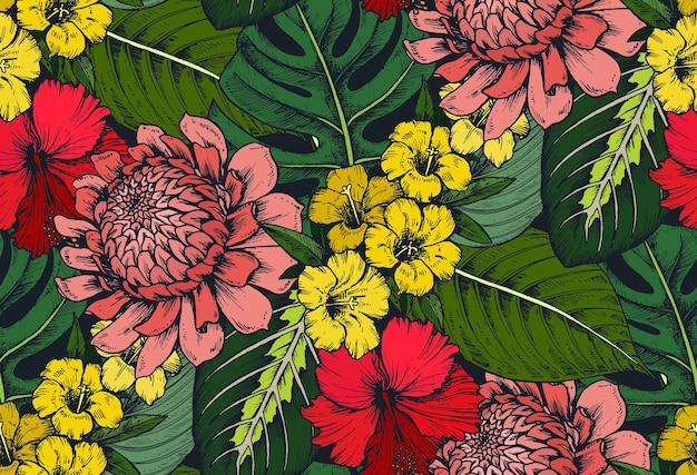 Wzór z kompozycjami ręcznie rysowane tropikalne kwiaty, liście palm, rośliny dżungli, rajski bukiet.