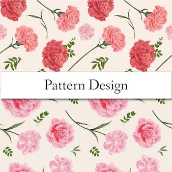 Wzór z koncepcją kwiat goździka, styl przypominający akwarele