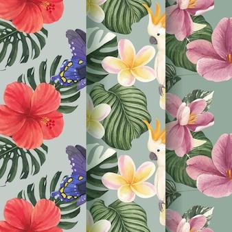 Wzór z koncepcją tropikalnej botaniki, stylu przypominającym akwarele