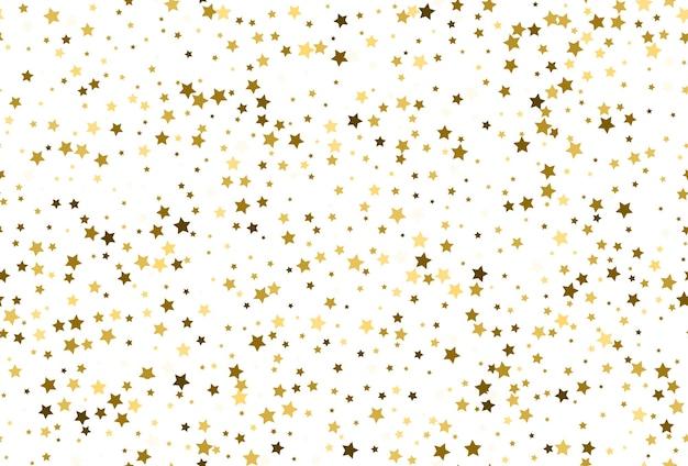 Wzór z konfetti złotych gwiazd. wzór złotej gwiazdy. gwiaździste tło.