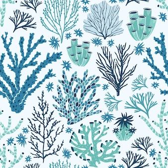 Wzór z koralowców niebieski i zielony i wodorosty.