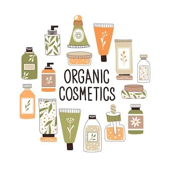Wzór z kosmetykami organicznymi z miejscem na tekst. zestaw butelek i tubek, słoiczków do pielęgnacji skóry z kremem do twarzy, włosów i ciała. styl mody na pocztówki, banery, szablony. ilustracja wektorowa.