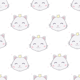 Wzór z kotami. uśmiechnięte słodkie koty