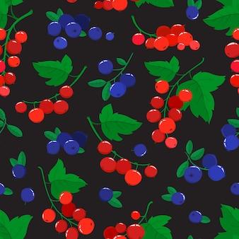 Wzór z kreskówek jagodami i porzeczkami