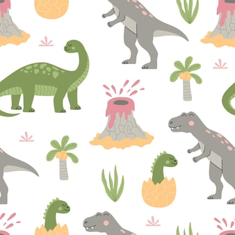 Wzór z kreskówka słodkie dinozaury, tropikalna roślina, palma i wulkan. kolorowe zwierzęta na białym tle. ręcznie rysowane ilustracji wektorowych w modnym stylu płaski.