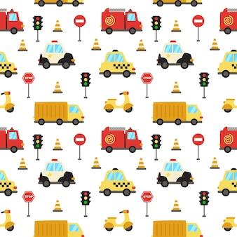 Wzór z kreskówka środków transportu.