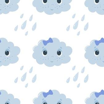 Wzór z kreskówki chmury i krople
