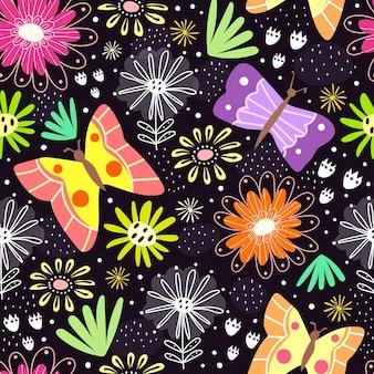 Wzór z kreskówkowymi kwiatami i motylami
