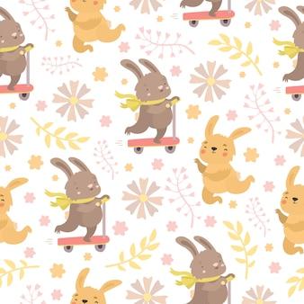 Wzór z króliczkami i kwiatami