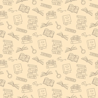 Wzór z książek papierowych. domowa biblioteka, stosy książek, okulary w stylu bazgroły. ręcznie rysowane ilustracji
