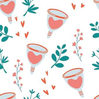 Wzór z kubka menstruacyjnego. zero odpadów okresów kwiatowym tle. produkty higieniczne dla kobiet.