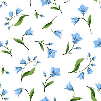 Wzór z kwiatami bluebell. ilustracja.