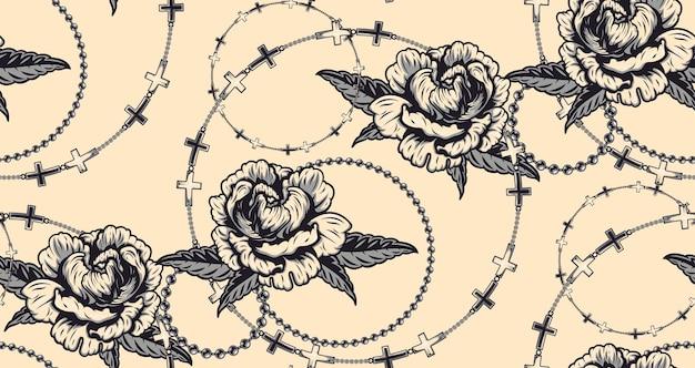 Wzór z kwiatami i łańcuchami w pastelowym kolorze. idealny do tekstyliów, opakowań, dekoracji i wielu innych zastosowań