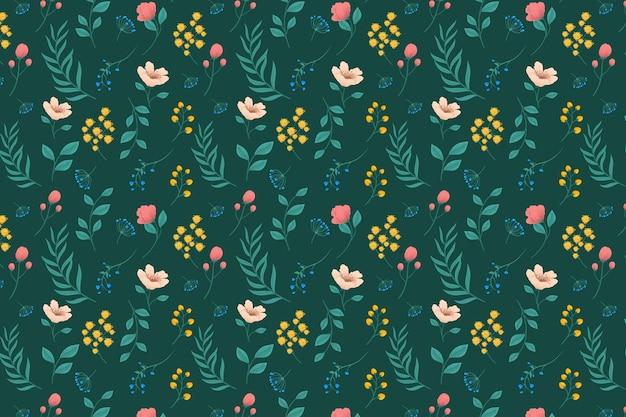 Wzór z kwiatami i liśćmi