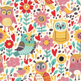 Wzór z kwiatami i sowami. ilustracja, która może służyć jako tapeta lub papier do pakowania