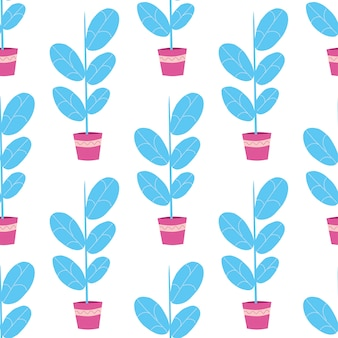 Wzór z kwiatami lub roślinami w doniczkach, na białym tle. skandynawski styl płaski