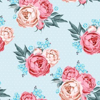 Wzór z kwiatami piwonii i zapomnianym na tle polka dot