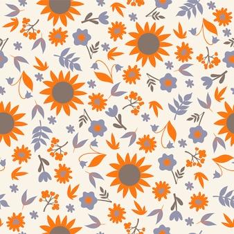 Wzór z kwiatów i liści.