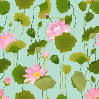 Wzór z kwiatów lotosu i liści, retro kwiatowy tło, druk mody, tapeta dekoracja urodzinowa. ilustracja wektorowa