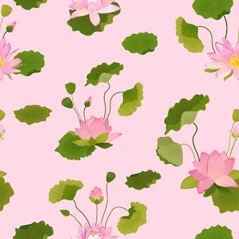 Wzór z kwiatów lotosu i liści, retro tropikalny kwiatowy tło do druku mody, tapeta dekoracja urodzinowa. ilustracja wektorowa