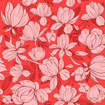 Wzór z kwiatów magnolii.